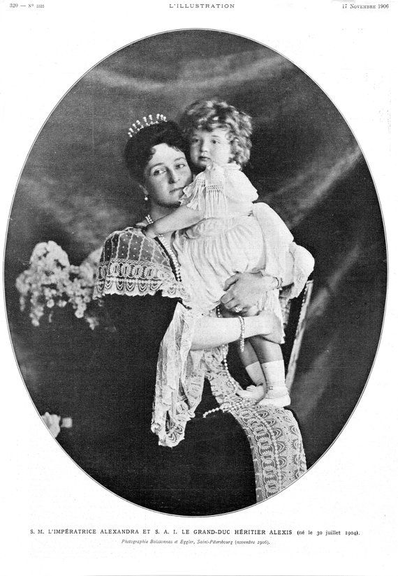 1906 Original Antique L'Illustration Parisian French Newspaper Print of Russian Empress Alexandra Feodorovna & Tsarevich Alexei Nikolaevich