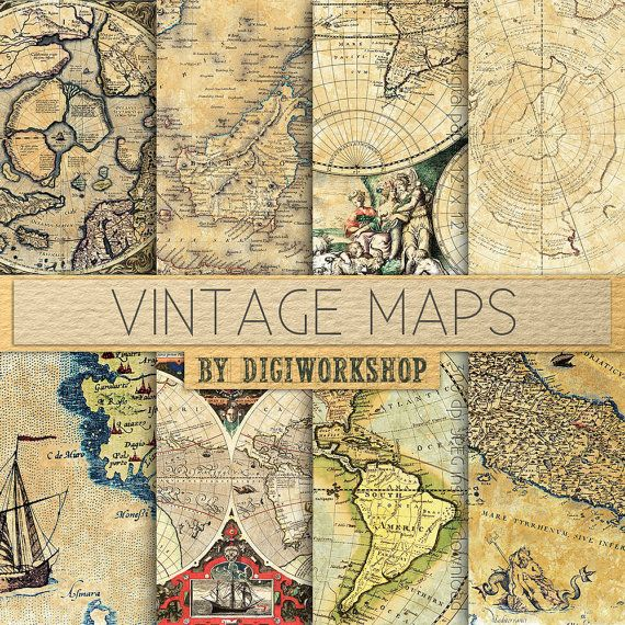 """Vintage maps digital paper - """"Vintage Maps"""" with vintage and antique maps of europe, america and the world for scrapbooking, invites, cards #scrapbooking #creative"""