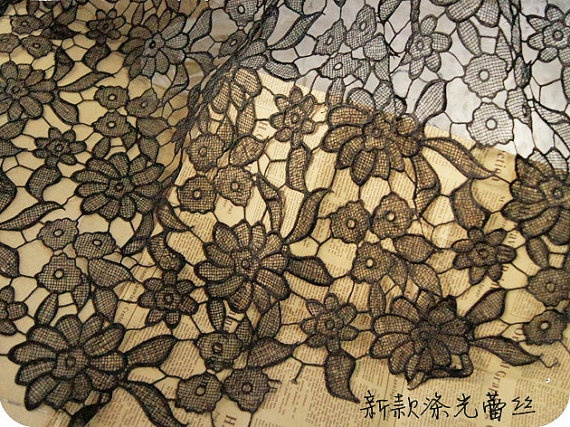 lace fabric  3D hollowed  D34  black by StarryFashion on Etsy, $24.00