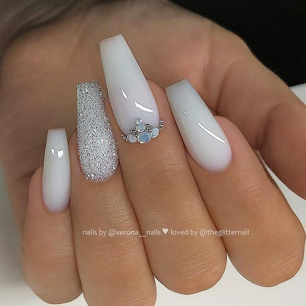 Milky White With Glitter And Crystals On Long Coffin Nails Nail Artis White Glitter Nails White Acrylic Nails With Glitter White Acrylic Nails