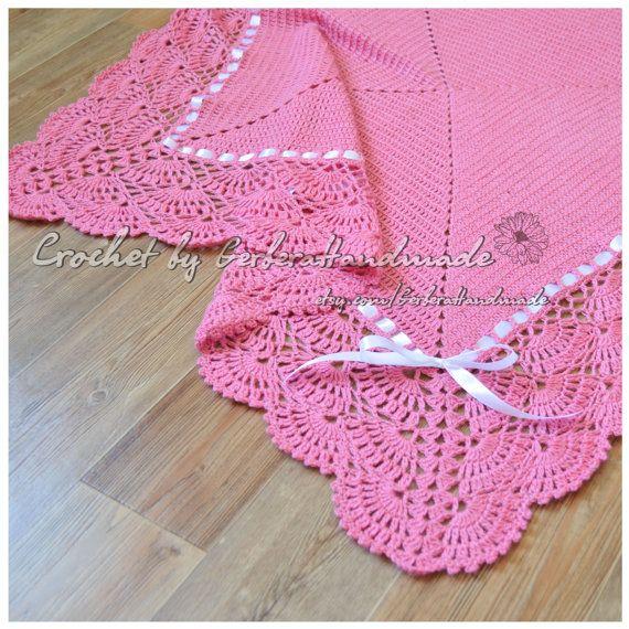 Coral Christening Baby crochet blanket  Baby by GerberaHandmade, $85.00