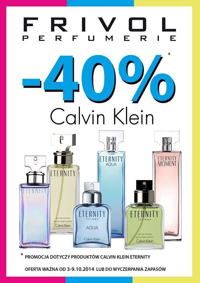 Przypominamy, że tylko do jutra tj. 09.10 produkty Calvin Klein Eternity tańsze aż o 40%.  Zapraszamy do Perfumerii Frivol Outlet Sky Tower   https://www.facebook.com/FrivolePrestige