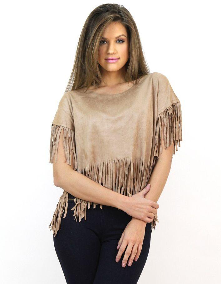 Bluză Scurtă cu Franjuri Maro Deschis- Bluze - http://famevogue.ro/haine_femei_85/bluze_91/bluza_scurta_cu_franjuri_284  #moda #shopping #haine #casual #style #fashion #top