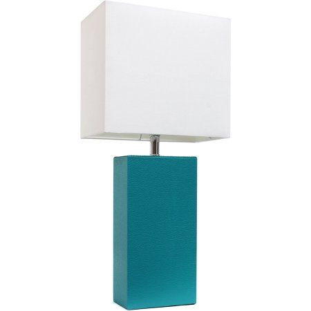 Elegant Designs Modern Leather Table Lamp with White Fabric Shade, Teal, Blue