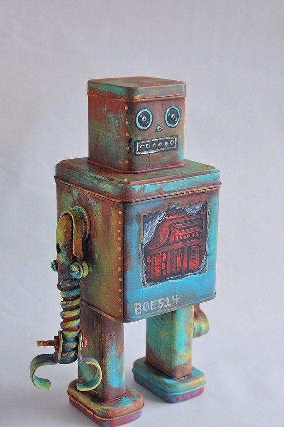 robot boe the scrapyard find found object by gammaraybots on Etsy, $100.00