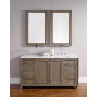 60 Inch Double Sink Vanity in White Washed Walnut | Overstock.com Shopping - The Best Deals on Bathroom Vanities