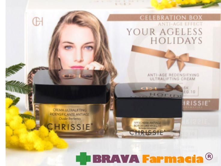Preparati alla festa della donna con Chrissie Celebration Box. Scopri la promo 1+1 a questo link: https://www.bravafarmacia.it/cosmetica/7398-chrissie-ultralifting-ridensificante-antiage-omaggio-maschera-anti-age.html