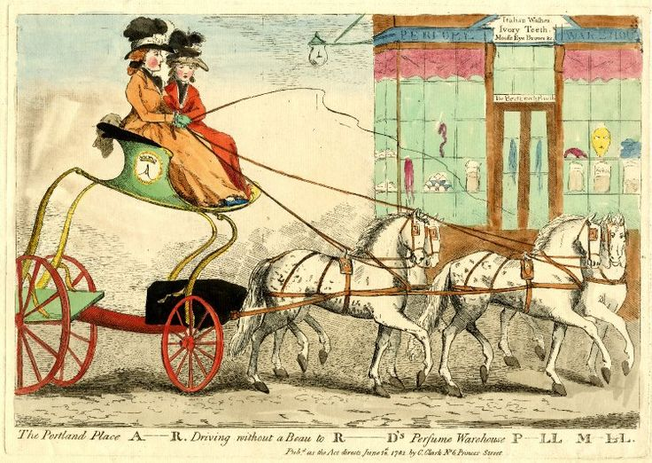The Portland Place a-r. [archer] Driving without a beau to R-ds perfume warehouse P-ll M-ll © The Trustees of the British Museum