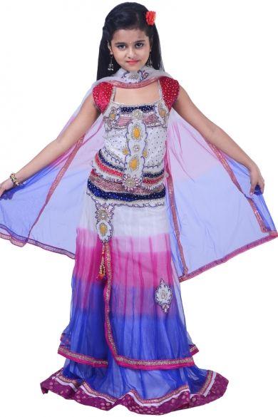 Off-white and Persian Blue Net Embroidered Wedding Lehenga Choli Sku Code:343-4605KLL706165 $ 77.00