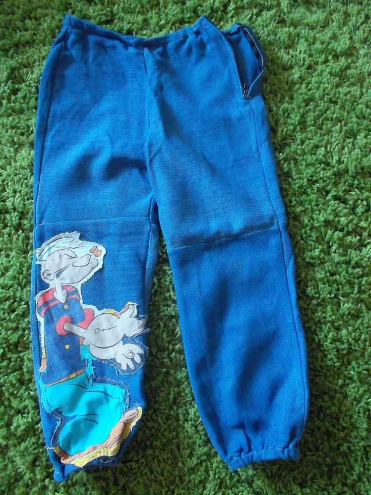 Pantalone per bimbo 3 anni in jeans elasticizzato con toppa di Braccio di Ferro # Pastis #