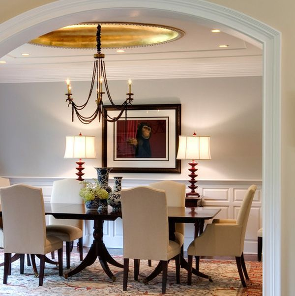 The Details Come Together To Make This A Beautiful Transitional Dining  Space. Gold Leaf Used Sparingly Is The Crown Jewel Of The Room.