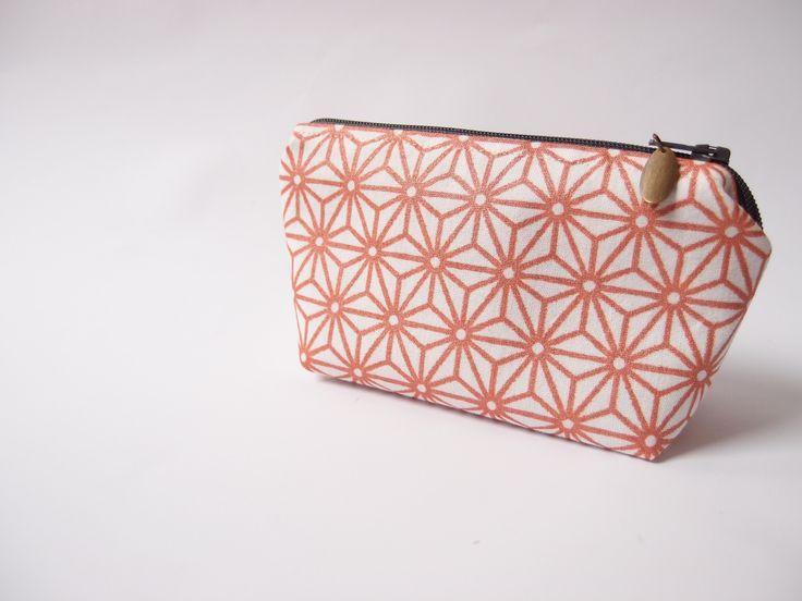 Mini trousse de sac – Fleurs géométriques cuivrées - pour maquillage, mouchoirs : Trousses par les-envies-damelie