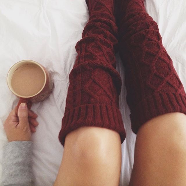 Happy Place: Drinking Coffee and wearing long warm socks in bed on a cold day