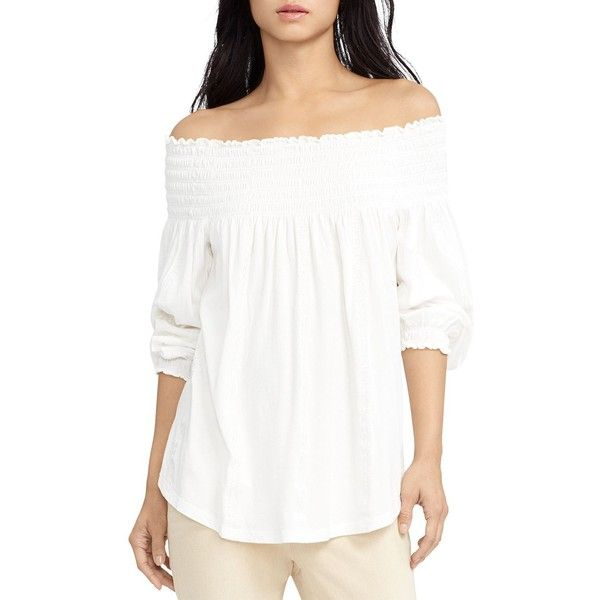 Lauren Ralph Lauren Shirred Off-The-Shoulder Top ($80) ❤ liked on Polyvore featuring tops, pearl, white off the shoulder top, off the shoulder tops, boho chic tops, white off shoulder top and white tops