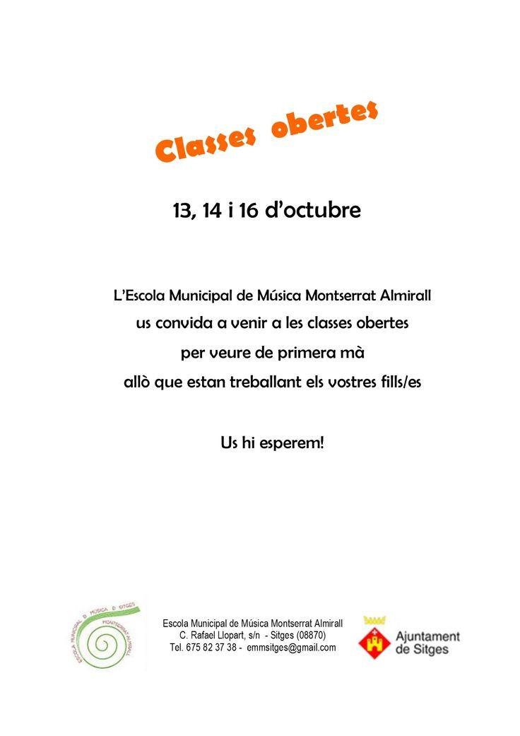 Classes obertes: 13, 14 i 16 d'octubre