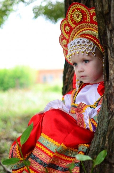 Little Russian girl in a kokoshnik, traditional headdress. #kids