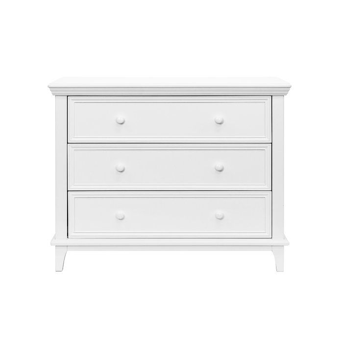 Simple, streamlined and built to last, this 3 Drawer Dresser pairs effortlessly with any of Viv + Rae's nursery furniture. Featuring ample space for growing wardrobes and easy-to-grasp handles, this kid-friendly dresser is outfitted with a durable metal glide system that prevents drawers from falling out.