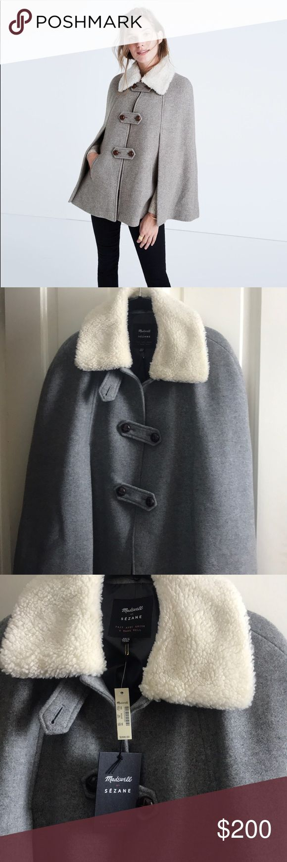 Madewell x Sezane Igor cape FLASH SALE Removable Sherpa collar. Never worn with tags. The pockets are still sewn shut. I live in LA+global warming so I've never gotten a chance to wear this. Sezane Jackets & Coats Capes