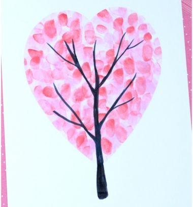 Valentine's day heart fingerprint tree - easy craft for kids // Szív fa - Valentin napi képeslap ujjlenyomatokkal // Mindy - craft tutorial collection