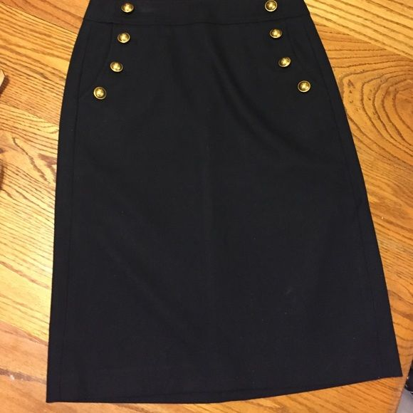 Loft black skirt with gold buttons on pockets | Buttons, Skirts ...