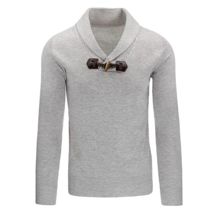 Pohodlný pánský svetr do v šedý