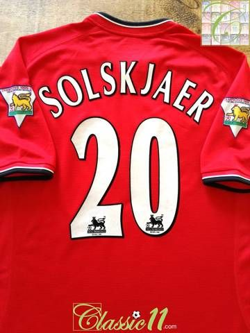2f1c5a6a959 Official Nike Manchester United home football shirt from the 2000 01  season. Complete with Solskjaer  20 on the back of the shirt in official  Lextra ...