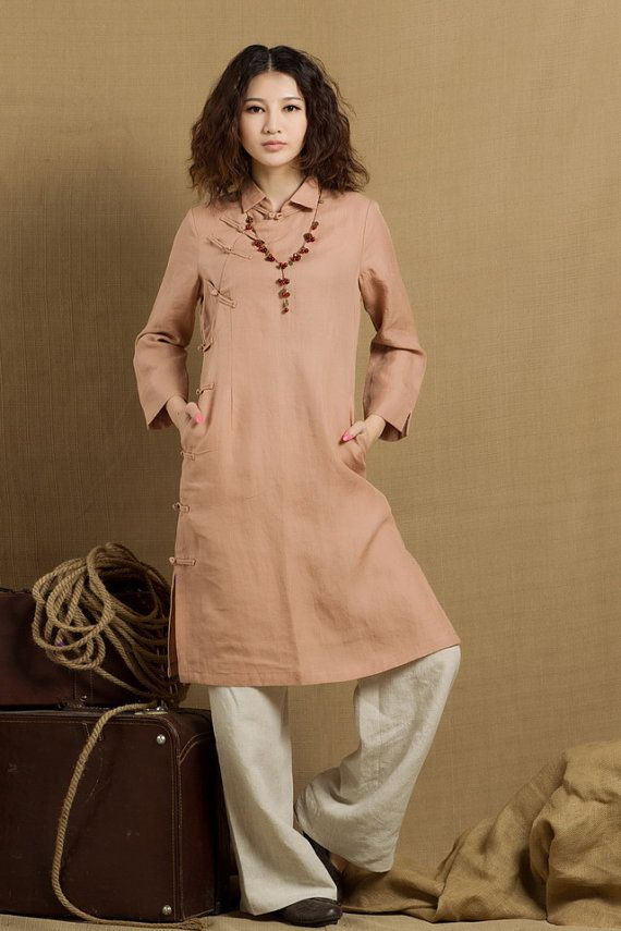 long linen tunic in pink / linen tunic dress / by camelliatune, $83.00