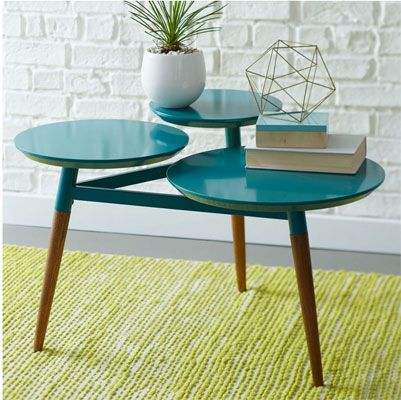 Midcentury-inspired Clover coffee table returns in a hip blue finish