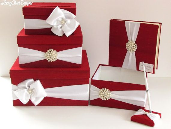 Wedding Money Box Set includes guest book, pen, and program holder by LaceyClaireDesigns, $229.00
