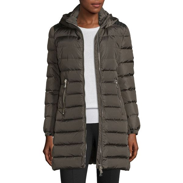 Moncler Orophin Long Puffer Coat w/Leather Trim (36.335 CZK) ❤ liked on Polyvore featuring outerwear, coats, olive, women's apparel coats, long coat, long puffy coat, brown coat, long quilted coat and puffy coat