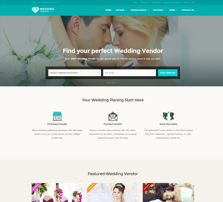 Wedding Vendor Directory Listing Html5 Template Responsive Website Template Website Template Website Themes Wordpress