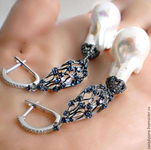 серьги серьги с жемчугом серебряные серьги серьги серебро барочный жемчуг модные серьги красивые серьги жемчужные серьги серьги с сапфирами серебряные украшения