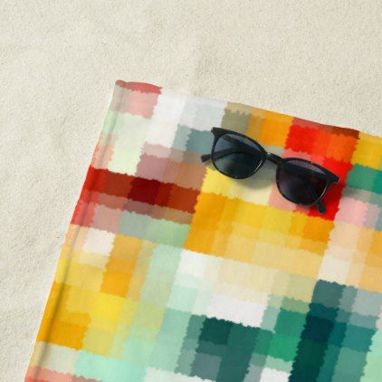 Red Blue Green Yellow White Abstract Pattern Beach Towel - #chic gifts diy elegant gift ideas personalize
