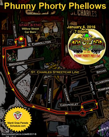 2016 Phunny Phorty Phellows New Orleans Mardi Gras Parade Schedule 2016