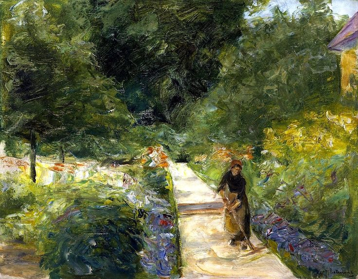 the cutting garden in wannsee toward the west with a woman gardener on the path