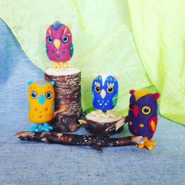 Needle felted owls  #childhoodinme #needlefelting #felt #wool #joy #smile #failrytale #happy #handmade #natural #creative #art