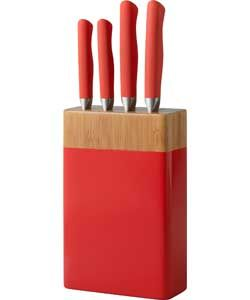ColourMatch 4 Piece Knife Block Set - Poppy Red.