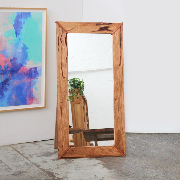 Custom Recycled Timber free standing mirror with Jarrah features. YARD custom made recycled timber furniture