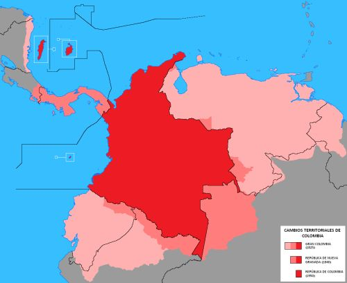 """Colombian territorial changes from 1825 to 1950 TiburonVolador: """"  Colombian territorial history is one of loss. In the days of the 'Gran Colombia' (never aptly translated, but I believe can be called 'Greater Colombia') the territories of both..."""