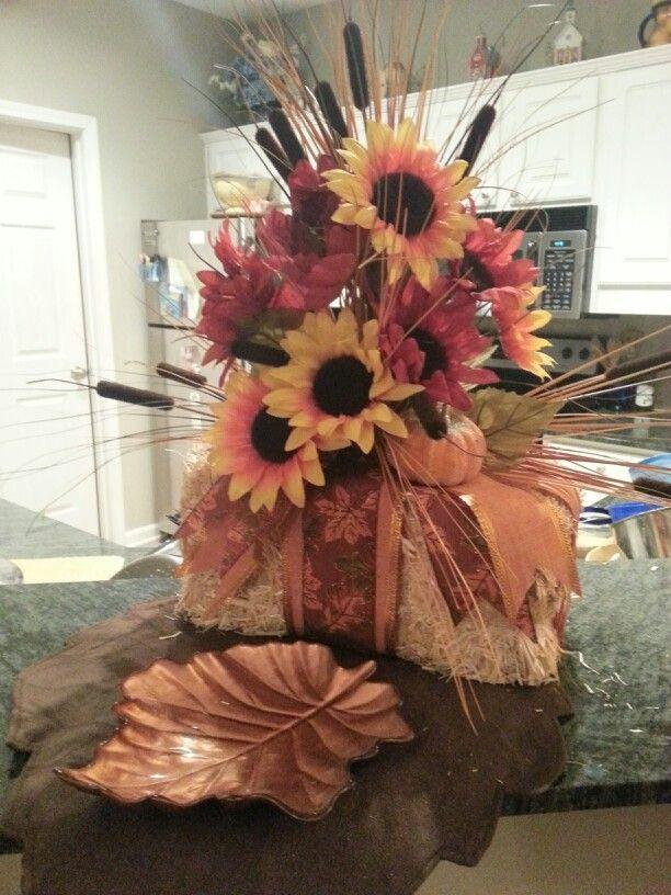 Mini Bale Hay W Ribbon And Fall Flowers Straw Great Centerpiece Pinterest Decor Wreaths