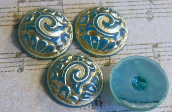 Vintage cabochons 4  cabs lucite Carved etched teal by a2zDesigns, $3.50