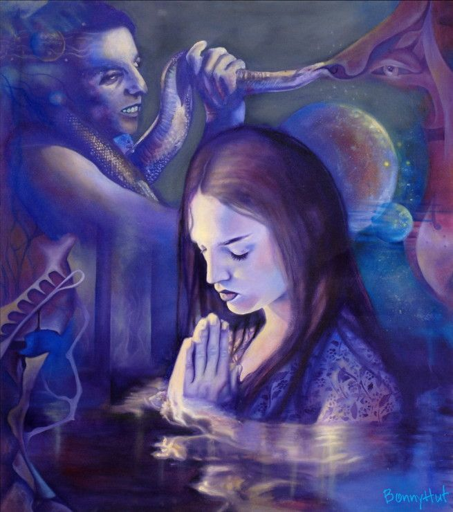 A woman praying in the water surrounded by an evil looking man with a snake. This oil painting, done by visionary artist, Bonny Hut, is about remaining centered and focused amongst chaos, evil or distractions. The painting has seemingly Gothic undertones.