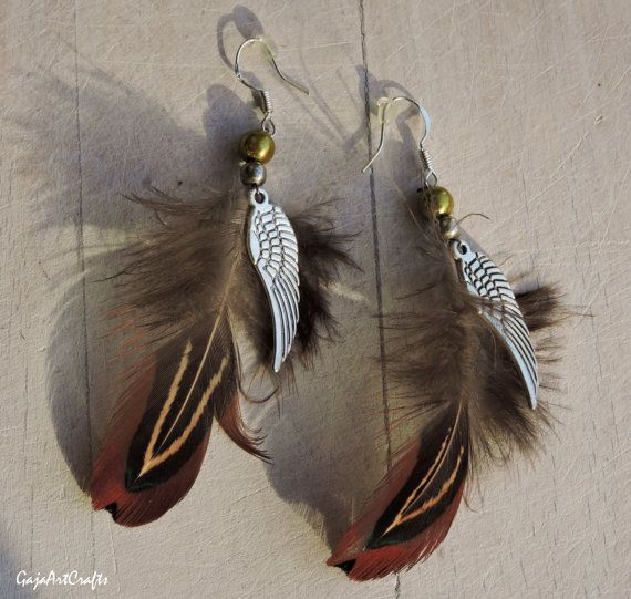 Brown autumn feather earrings Boho feather by GajaArtCrafts