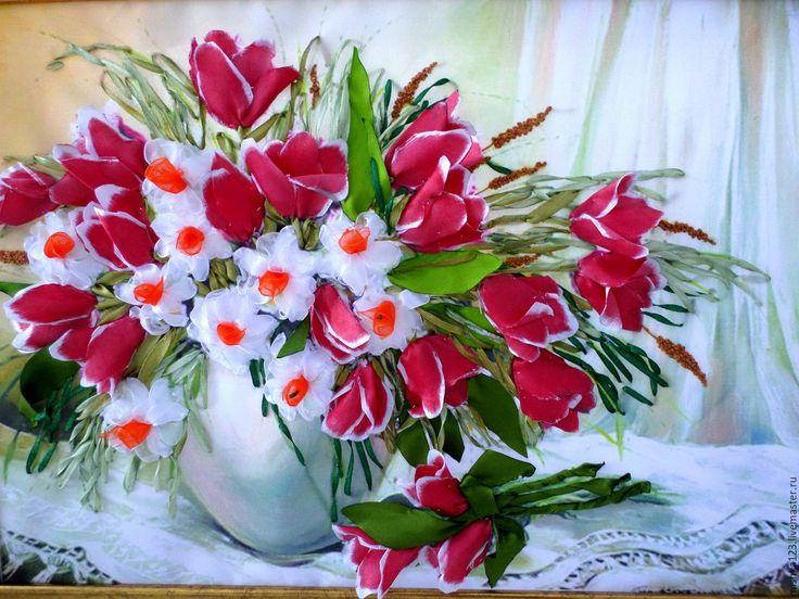 Купить БУКЕТ ТЮЛЬПАНОВ и НАРЦИСС - розовый, тюльпаны, шёлковые ленты, габардин стрейч
