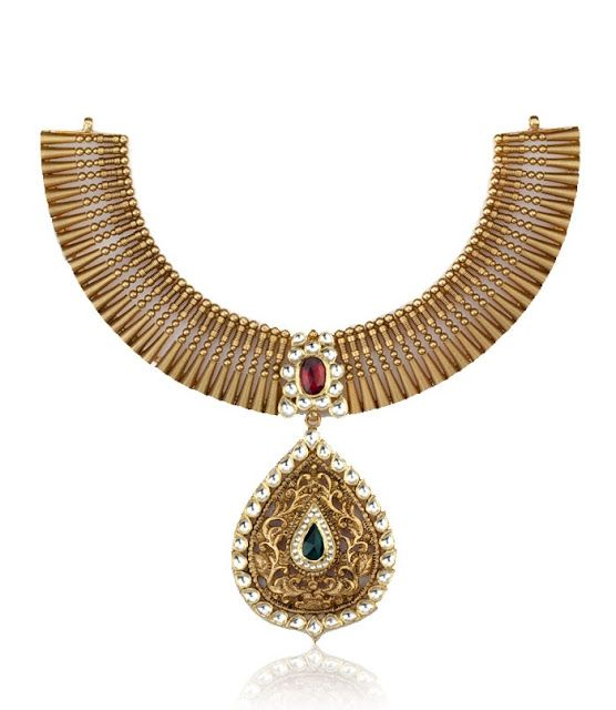 Indian Jewellery and Clothing: Short and heavy gold necklace designs from Jagadish jewellers..
