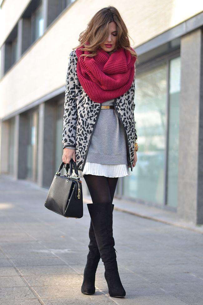 leopard print coat, mini skirt & over-the-knee boots