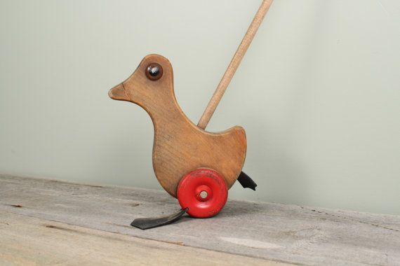 Antique Wooden Toy Duck Vintage Nursery Decor by TheHomeMarket