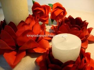 Origami flor de lótus como porta vela