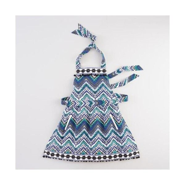 Cost Plus World Market Zigzag Embroidered Apron ($25) ❤ liked on Polyvore featuring home, kitchen & dining, aprons, blue, cost plus world market, floral apron, pocket apron, embroidered aprons and blue apron