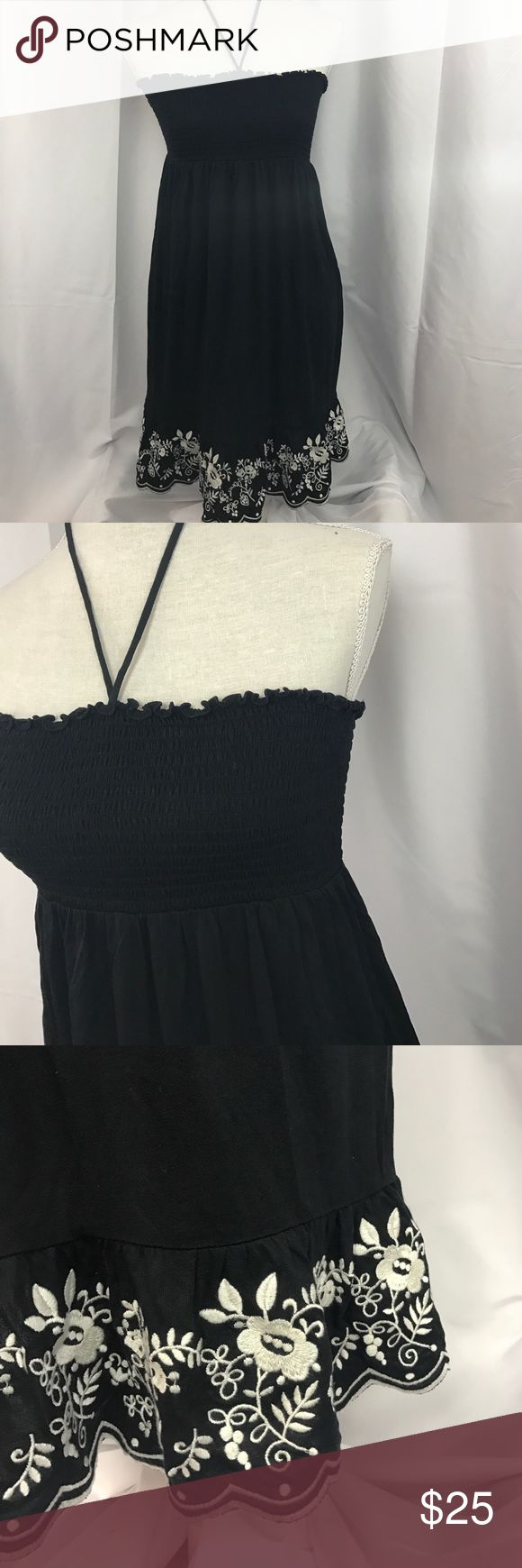 Juicy Couture szM black tube top style dress Excellent used condition Juicy Couture szM black tube top style dress w/pretty embroidered bottom...ties around neck... Juicy Couture Dresses